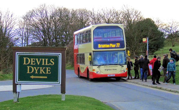 open-top 77 bus on its way to Devil's Dyke