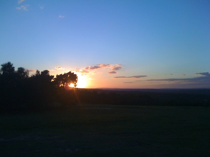 A sunset over Ashdown forest enjoyed by Sandra and me